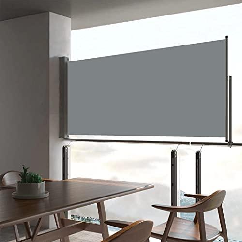 vidaXL Seitenmarkise Ausziehbar UV- und Wasserbeständig Sonnenschutz Sichtschutz Windschutz Seitenrollo Markise Balkon Garten Terrasse 60x300cm Grau