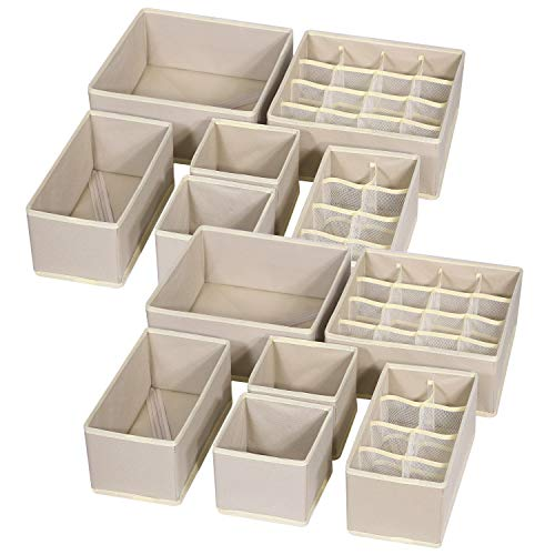 TENABORT 12 Pack Foldable Drawer Organizer Dividers Cloth Storage Box Closet Dresser Organizer Cube Fabric Containers Basket Bins for Underwear Bras Socks Panties Lingeries Nursery Baby Clothes Beige