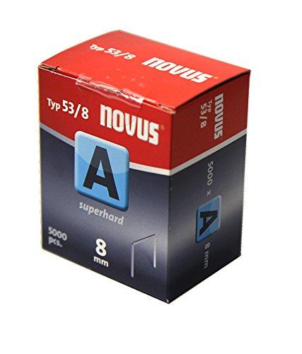 """Novus Feindrahtklammern 8 mm """"superhart"""", Sparverpackung, 5000 Tacker-Klammern vom Typ 53/8, Heftmittel aus Stahldraht"""