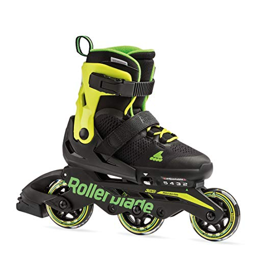 Rollerblade Microblade 3WD Kid's Size Adjustable Inline Skate, Black and Lime, High Performance Inline Skates, Youth, Size Kids 5 - 8