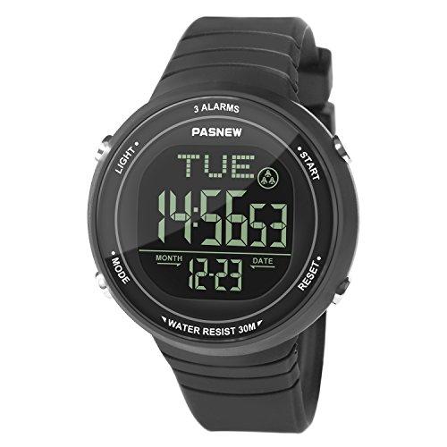 Hiwatch Reloj Deportivo LED Digital Gran Pantalla Relojes para Niños Niñas Estudiantes Jovenes y Simple Reloj Impermeable Casual Luminoso Cronómetro Alarma Negro