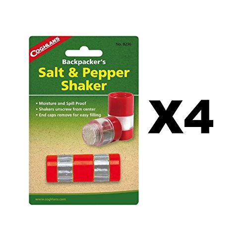 Coghlan's Backpacker's Salt & Pepper Shaker Compact Spill Moisture Proof(4-Pack)