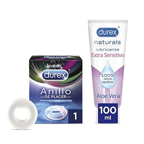Durex Naturals Lubricante de Base Agua 100% Natural Extra Sensitivo con Aloe Vera + Durex Anillo de Placer para Mayor Firmeza