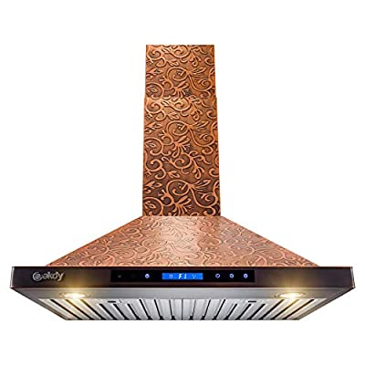 AKDY Wall Mount Range Hood - Embossed Copper Hood Fan for Kitchen - 4-Speed Professional Quiet Motor - Premium Touch Control Panel - Elegant Vine Design - Dishwasher Safe Baffle Filters (30 in.)