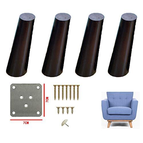 GYPPG Schräge Möbelbeine, Massivholz-Sofabeine, Sofafüße, TV-Tischbeine, Tischbeine, Küchenfüße, Schrankbeine, für Couchtisch, Esstisch, Nachttisch, 4er-Pack, Schwarz