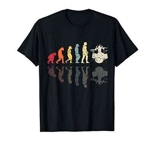 Herren Evolution des Menschen Schlagzeug Band Retro Vintage Drummer T-Shirt