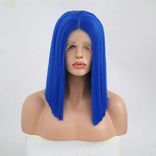 Gao-Wig Perücken 12 Zoll Gerade Kurze Bob Blau Haarfarbe Synthetische Lace Front Perücken Hitzebeständige Faser Für Frauen 150% Dichte