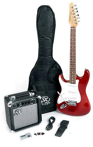 Left Handed 3/4 Size Beginner Electric Guitar Package with Amp, Strap and Carry Bag SX RST 3/4 LH CAR Red