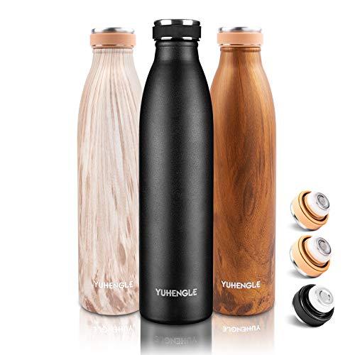 750ml Trinkflasche Edelstahl, Wasserflasche BPA-Frei,Auslaufsichere Thermosflasche-24 Std Kalt und 12 Std Heiß,Doppelwandig Vakuum Isolierflasche,Thermoskanne Flasche Sport Fahrrad Fitness Büro Yoga