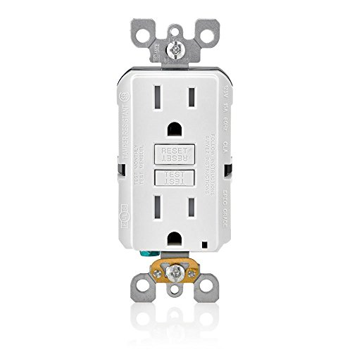 Leviton GFTR1-3W SmarTest Self-Test SmartlockPro Slim GFCI Tamper-Resistant Receptacle with LED Indicator (3 Pack), White