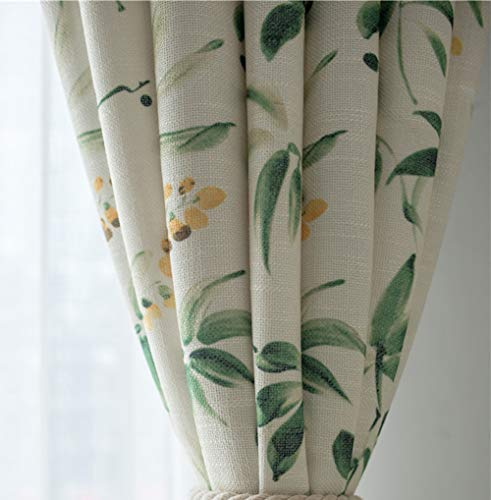 pureaqu Semi Blackout Floral Green Leaves Printed Curtain Panels Faux Linen Grommet Rustic Curtain Drapes Perfect for Living Room/Bedroom Window Treatment Draperies 1 Panel W52 x L84 Inch