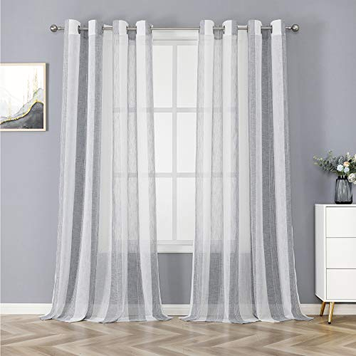 "Haperlare Sheer Curtains for Living Room 95 inch Long Stripe Geometric Design Voile Window Curtains, Vintage Linen Textured Look Grommet Bedroom Window Treatment, 55"" W x 95"" L, Grey, 2 Panels"