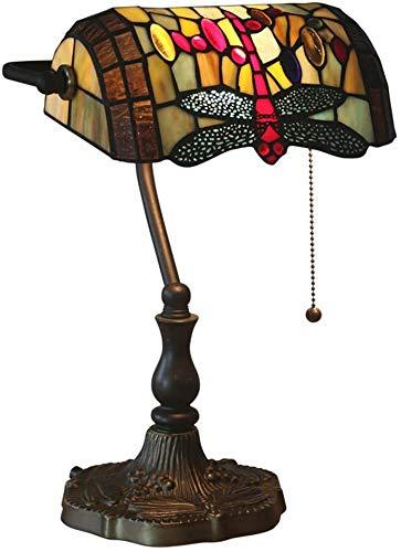 W&HH Vintage Tiffany Lámpara de Mesa Libélula Banqueros Escritorio Lámpara para Sala de Estar Estilo Europeo Vidrio Manchado Banco Luces Deco Lámpara de Noche para Dormitorio