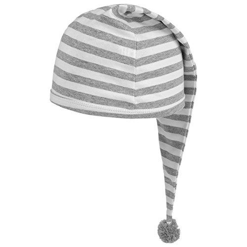 Lipodo Schlafmütze grau weiß gestreift (56 cm lang) - Damen und Herren - Nachthaube aus Baumwolle - Bommelmütze One Size (53-60 cm) - Nachtmütze mit Bommel - Zipfelmütze zum Schlafen für die Nacht