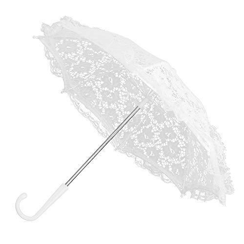 TOPINCN Sombrilla De Encaje Blanco para Boda, Estilo Vintage, Diseo De Flores, Paraguas Bordado, Romntico, Accesorio para Disfraz De Mujer