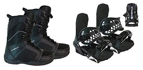 Symbolic Custom-Flow Black Snowboard Bindings & Boots & Leash & Stomp Pad M L XL Black Bindings Fits Boots Selected, 10 Mens Black Ultralite Boots