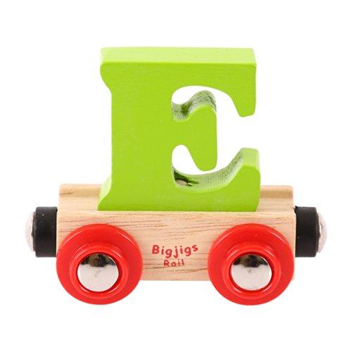 Bigjigs Rail Rail Wagon caractère Lettre E (Vert)