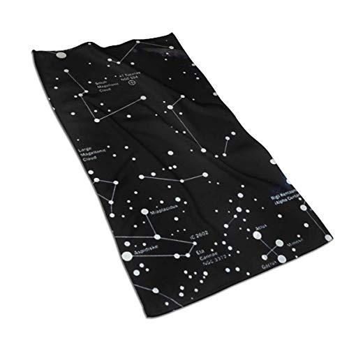 VimcustomPr Moon Constellations - Juego de toallas de algodón egipcio (40 x 70 cm), muy absorbentes