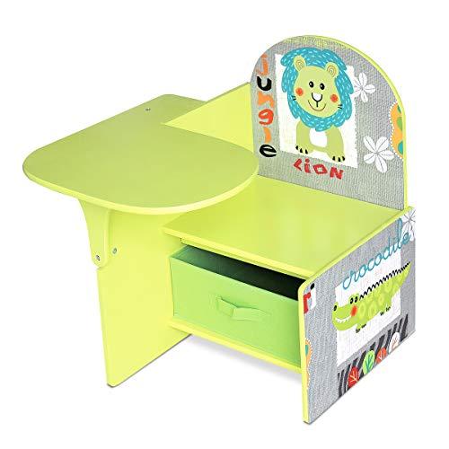 Lalaloom SWEET SEAT - Pupitre infantil de madera color verde para habitación bebe escritorio niños con asiento y cajón multifuncional 58,5x51,3x58,5cm