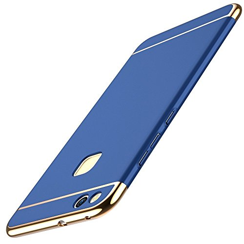 Huawei P10 Lite Hülle, Huawei P10 Lite Handyhülle Ultra Slim Case Hart PC Hard Hardcase 360 Grad Schutzhülle Bumper Cover Plastik Schutz Tasche Schale für Huawei P10 Lite Case Cover (3 in 1 Blau)