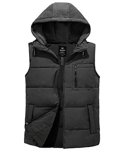 Wantdo Men's Hooded Winter Puffer Vest Quilted Warm Jacket Coat with Hood Dark Gray L