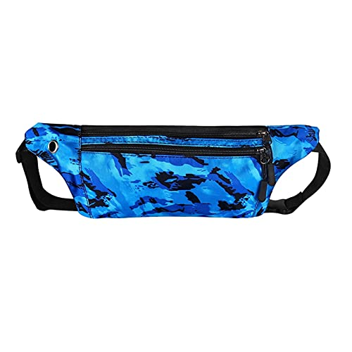 Hombres Mujeres Fanny Pack Hip Bums Bags Impermeable Gimnasio Fanny Pack Wallet con Auricular Hole Teléfono Paquete Running Pack de la cintura (Color : Blue, Size : 7.87 * 4.33in)