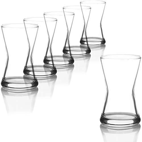 com-four® 6-teiliges Teeglas Set, Türkische Teegläser, original orientalisches Çay-Set für 6 Personen in elegantem Design