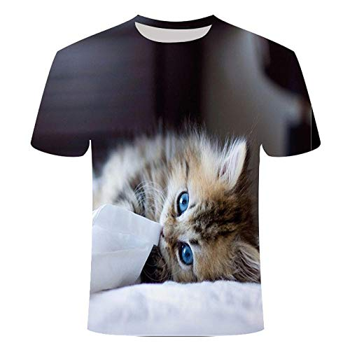 La Serie de Patrones de Gato Lindo Mascota más vendida en Verano Camiseta 3D Tops de Manga Corta Tops para Hombres y Mujeres-S