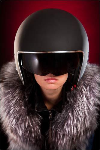 Posterlounge Leinwandbild 20 x 30 cm: Glamour-Bikerin von Editors Choice - fertiges Wandbild, Bild auf Keilrahmen, Fertigbild auf echter Leinwand, Leinwanddruck