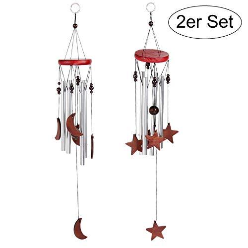Windspiel 2er Set für Draußen - Glockenspiel für Garten und Balkon - Holz-Klangspiel sorgt für tollen Klang und beruhigende und entspannte Atmosphäre - auch als Vogelschreck (Set)
