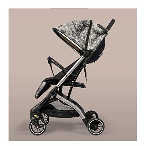 Yyqx Cochecito de bebé compacto, ligero y plegable, para embarque y reclinable, con cuatro ruedas que absorben los golpes, cochecito (color: Galaxy Gray)