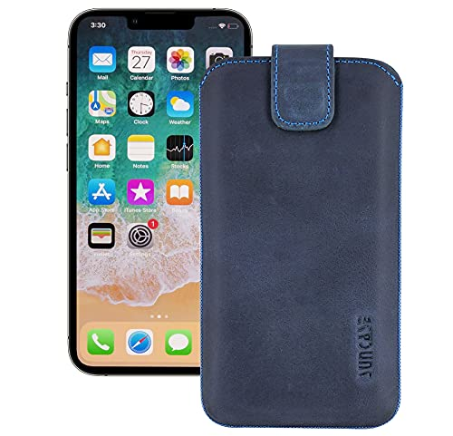Suncase ECHT Leder Tasche kompatibel mit iPhone 13 PRO (6,1 Zoll) mit ZUSÄTZLICHER Transparent Hülle | Schale | Silikon Bumper Handytasche (mit Rückzugsfunktion & Magnetverschluss) in Pebble Blue