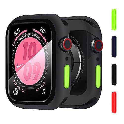 Wenearn Cover per Apple Watch 44mm Series SE/4/5/6, Custodia + Protezione Schermo, Pellicola Protettiva HD in Vetro Temperato e Case TPU Pieno Ultra Sottile Paraurti e Pulsanti Case (Nero)