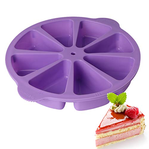 Congis Baking Molds Triangle 8 Cavity Silicone Portion Cake Mold Soap Mould Pizza Slices Pan (Purple)