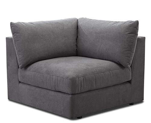 """CAVADORE Sofa-Modul \""""Fiona\"""" Spitzecke / Ecke für Wohnlandschaft oder XXL-Sessel / 107 x 90 x 107 / Webstoff grau"""
