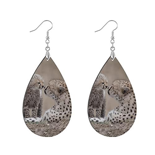 Pendientes de madera de moda gota cuelgan ligeros lágrima pendientes forma gota pendiente para las mujeres joyería guepardo bebé animal depredador juego personalizado