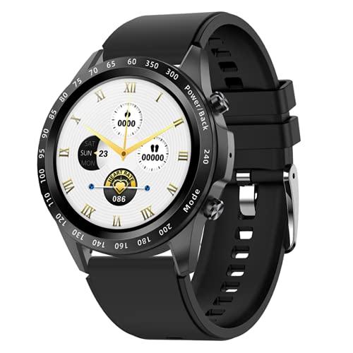 HYK Relojes Inteligentes para Hombres y Mujeres, monitoreo de frecuencia cardíaca y presión Arterial, rastreador de Ejercicios Deportivos, Llamada Bluetooth, Adecuado para Android iOS(B)
