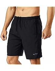 Sportbroek voor heren, korte broek, loopbroek, korte broek, trainingsbroek voor heren, sportjoggingbroek, voetbalbroek, jongens, sneldrogend, met zak, loopshorts voor fitness, outdoor, zomer, zwart