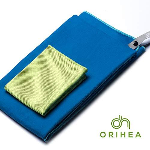 OriHea Sporthandtuch, Mikrofaser Handtücher mit Tasche 2er-Set, Schnelltrocknende, Ultra-Leicht, Microfaser Badehandtuch groß 180x80cm, Kühltuch 100x30cm, Handtuch für Reisen, Fitness, Hot Yoga