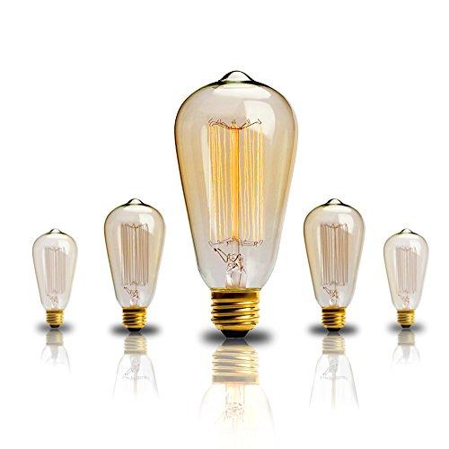Edison Bulb 60w Vintage Antique Incandescent Light Bulbs Dimmable Classic Home Light Fixtures Squirrel Cage Filament E26 E27 Base ST64-2 Pack