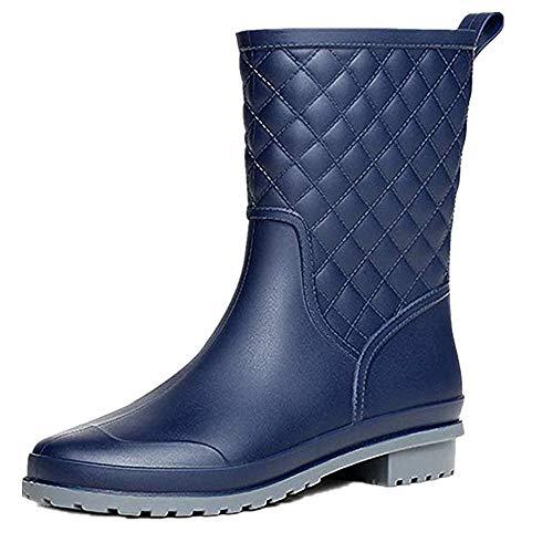 Halbhohe Gummistiefel Damen Kurz Frauen Regenstiefel Stiefeletten Gartenarbeit Mode Outdoor Boots Blau 38