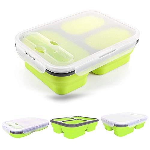 Xrten Silikon Lunchbox,Faltbar Silikon Brotdose mit 3 Abteil,Geeignet für zu Hause und im Freien(BPA Frei)