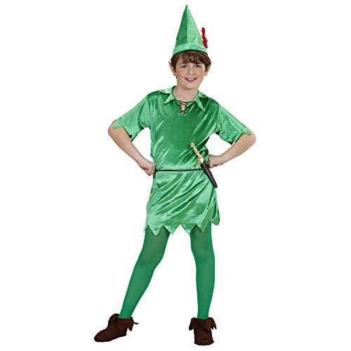 WIDMANN 76490-Disfraz infantil de Peter, túnica, cinturón, sombrero, hadas, fiesta temática, carnaval, multicolor (76490)