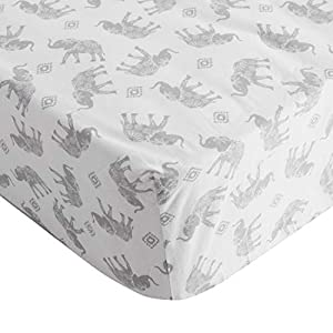 Levtex Baby – Crib Fitted Sheet – Fits Standard Crib and Toddler Mattress – Grey Tossed Elephants – Grey and White – Nursery Accessories – 100% Cotton