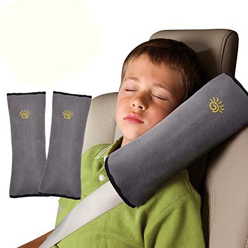 2pcs Almohadillas de Cinturón Seguridad para Niño Desmontable Protección Hombro Cojín Amortiguador del Vehículo Ajuste Soporte de la Cabeza