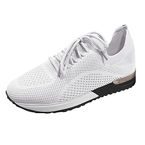 Zapatillas Deporte Mujer, Deportivas Sneaker Running Senderismo Transpirable Regular Verano 2021 Cordones Baratas Blancas Vestir Platform Cuña Plantilla Gimnasio Gimnasia (H36_White,EU40)