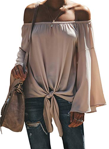 Asvivid Womens Spring Solid Off The Shoulder Tops Flared Bell Long Sleeve Blouses Cute Tie Knot Club T-Shirt Tops Small Apricot