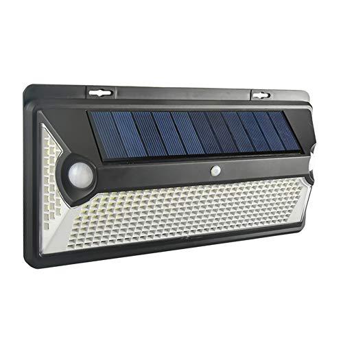 Luz de pared con energía solar, 270° luces solares al aire libre, 360 luces LED de seguridad solar, iluminación de sensor de movimiento PIR, lámpara de calle exterior impermeable para jardín