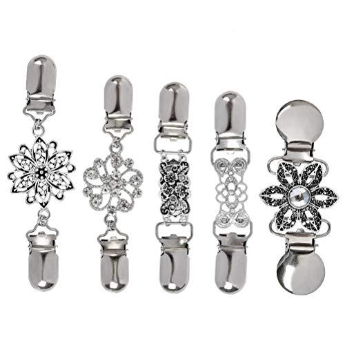 'N/A' 5 Piezas Clip de Rebeca de Mujer,Clips de suéter Vintage con Flores Diamantes de Imitación,Falda y Bufanda Metal Cadena de Suéter Clip de Rebeca de Creativa,Plata