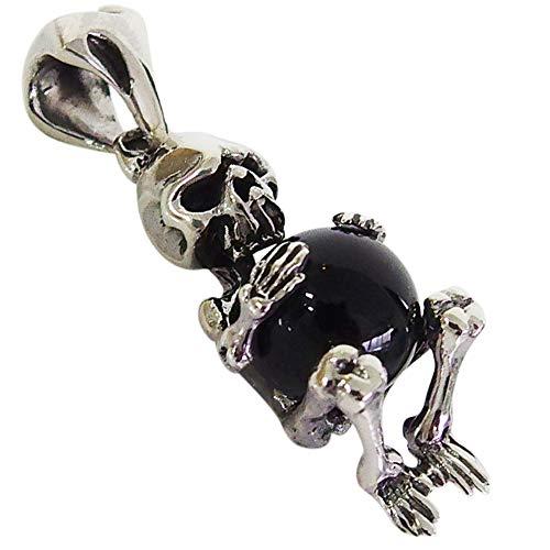 (DB)キャッチスカルトップ黒 ペンダント シルバー925ドクロ 骨ペア銀ブランド 男性 女性